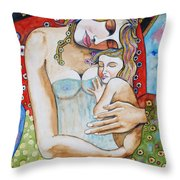 Motherhood - Tribute To Klimt Throw Pillow