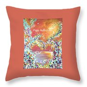 Mother's Day Greeting Card Heart Throw Pillow