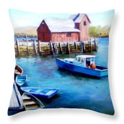 Motif One Rockport Harbor Throw Pillow by Jack Skinner