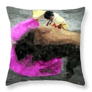 Bull Motion 3 Throw Pillow