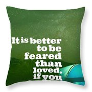 Motivational Inspiring Quotes, Designed By Asar Studios  - Niccolo Machiavelli Throw Pillow