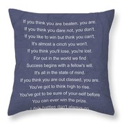 Motivational Poem - The Victor Throw Pillow