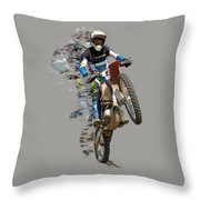 Motocross Rider With Flying Pieces Throw Pillow