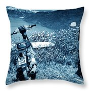 Motor Scooters In Greece Throw Pillow