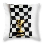 Motor Sport Racing Tie And Trophy Throw Pillow