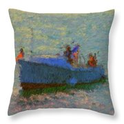 Motor Yacht At Spruce Point Boothbay Harbor Maine Throw Pillow
