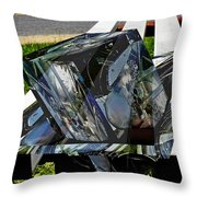 Motorcycle And Park Bench As Art Throw Pillow