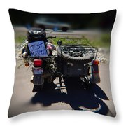 Motorcycle Love Story Throw Pillow