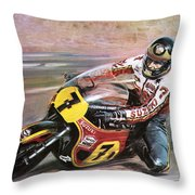 Motorcycle Racing Throw Pillow by Graham Coton