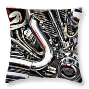 Motorcycle Reds Throw Pillow