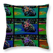 Motorcycle Road Race Throw Pillow