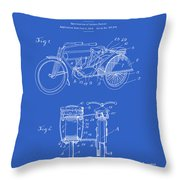 Motorcycle Sidecar Patent 1912 - Blueprint Throw Pillow