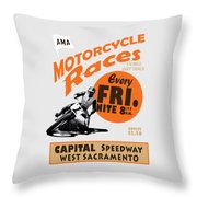 Motorcycle Speedway Races Throw Pillow