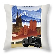Motoring In Germany - Retro Travel Poster - Vintage Poster Throw Pillow