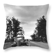 Motorist Parked By Roadside Throw Pillow