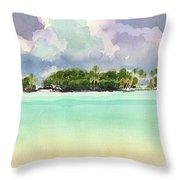 Motu Rapota, Aitutaki, Cook Islands, South Pacific Throw Pillow