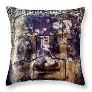 Mould Damage At Angkor Thom Throw Pillow