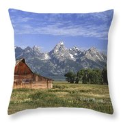 Moulton Barn In The Tetons Throw Pillow