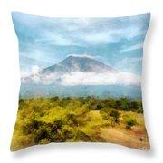 Mount Agung On The Island Paradise Of Bali Throw Pillow