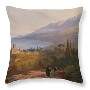 Mount Athos And The Monastery Throw Pillow