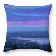 Mount Baker And Vancouver Bc At Dawn Throw Pillow