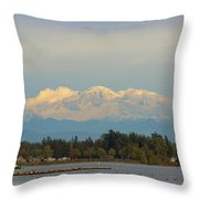 Mount Baker From Semiahmoo Bay In Washington Throw Pillow