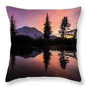 Mount Baker Sunrise Reflection Throw Pillow