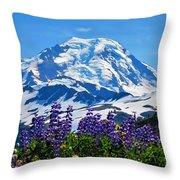 Mount Baker Wildflowers Throw Pillow