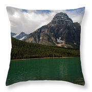 Mount Chephren From Waterfowl Lake - Banff National Park Throw Pillow