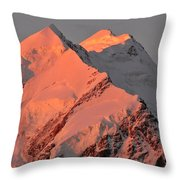 Mount Cook Range On South Island In New Zealand Throw Pillow