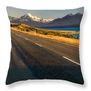Mount Cook Road Throw Pillow