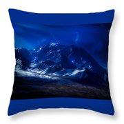 Mount Denali Moonlight Alaska Throw Pillow
