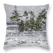 Mount Desert Narrows Snowscape Throw Pillow