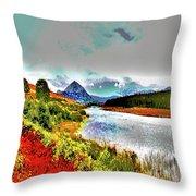 Mount Errigal, Donegal, Ireland, Poster Effect 1a Throw Pillow
