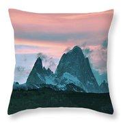 Mount Fitz Roy At Dusk Throw Pillow