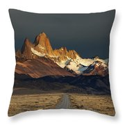Mount Fitz Roy At Sunrise, Patagonia, Argentina Throw Pillow