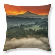 Mount Hood And Sandy River Valley Sunrise Throw Pillow