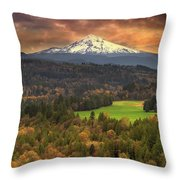 Mount Hood At Sandy River Valley In Fall Throw Pillow