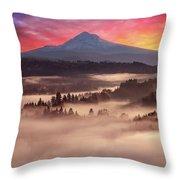 Mount Hood Foggy Sunrise Throw Pillow