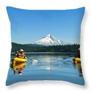 Mount Hood Kayakers Throw Pillow