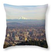 Mount Hood Over City Of Portland Oregon Throw Pillow