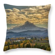 Mount Hood Over Farmland In Hood River In Fall Throw Pillow