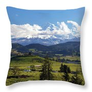 Mount Hood Over Fruit Orchards In Hood River Throw Pillow