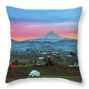 Mount Hood Over Hood River At Sunset Throw Pillow