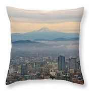 Mount Hood Over Portland Downtown Cityscape Throw Pillow
