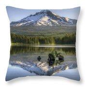 Mount Hood Reflection On Trillium Lake Throw Pillow