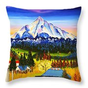Mount Hood River Valley #1. Throw Pillow
