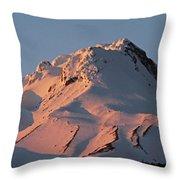 Mount Hood Sunset Glow Throw Pillow