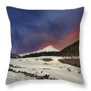Mount Hood Winter Wonderland Throw Pillow