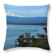 Mount Hood With Train Throw Pillow